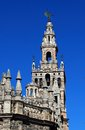 Giralda tower seville spain la and part of the cathedral province andalusia western europe Stock Image