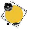Feminine abstract background. Black mallow flower and yellow circle, square.