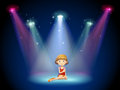 A girl acting on the stage with spotlights illustration of Stock Photo