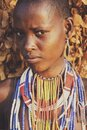 Girl from the african tribe Dassanech poses for a portrait, Mago National Park Royalty Free Stock Photo