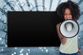 Girl with afro shouting through megaphone with copy space on blue art deco style background Royalty Free Stock Image