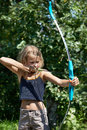 Girl aim with bow Royalty Free Stock Photo