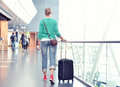 Girl in the airport terminal Royalty Free Stock Photos
