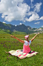 Girl in an alpine meadow melchsee frutt switzerland Royalty Free Stock Photo