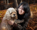 Girl and american cocker spaniel Royalty Free Stock Photo