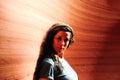 Girl in antelope canyon arizona usa young posing the navajo reservation Royalty Free Stock Image