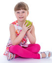 Girl with apple fruit healthy eating child isolated on white background Stock Image