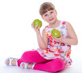 Girl with apple fruit healthy eating child isolated on white background Stock Images