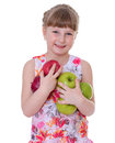 Girl with apple fruit healthy eating child isolated on white background Royalty Free Stock Photography