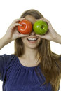 Girl with apples attractive young lady green and red Royalty Free Stock Photography