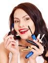 Girl applying makeup. Stock Photo