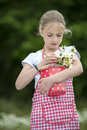 Girl with apron and bouquet of daisies outdoors red white checkered Royalty Free Stock Image