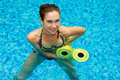 Girl in aqua fitness  aerobic Stock Image