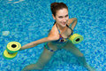 Girl in aqua fitness aerobic Stock Photos
