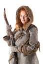 Girl archer in a costume with bow isolated in white Stock Photography