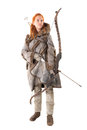Girl archer in a costume with bow isolated in white Royalty Free Stock Image