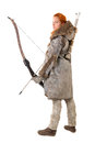 Girl archer in a costume with bow isolated in white Royalty Free Stock Photos