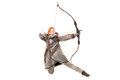 Girl archer in a costume with bow isolated in white Stock Image