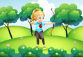 A girl with an archer at the hilltop illustration of Royalty Free Stock Photo