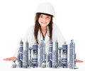 Girl architect Stock Photos
