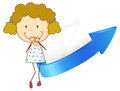 Girl arrow and envelop illustration of a an an on a white background Royalty Free Stock Images