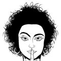 Girl asking for silence comic style black and white drawing of a requestion Stock Image
