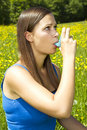 Girl with asthma Stock Photos