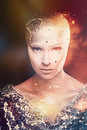 Girl astronomer universe mixed light with creative makeup astrologer the cosmological predictions the cold of the stars without Royalty Free Stock Photo