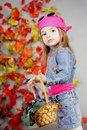 Girl in the autumn with a basket Stock Images