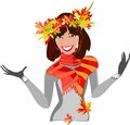 Girl with autumn leaves beautiful smiling Royalty Free Stock Images