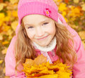 Girl at autumn little child outdoors Stock Photo