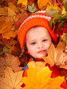 Girl in autumn orange  leaf and red berry. Stock Photos