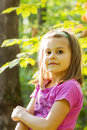 Girl autumn portrait happy little in beautiful fall light Stock Photos