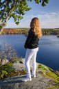 Girl in autumn trip Royalty Free Stock Images
