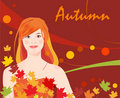 Girl and  autumnal leaves Royalty Free Stock Image