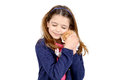 Girl with baby cat beautiful young posing a lovely young kitten Stock Photography