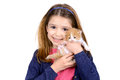Girl with baby cat beautiful young posing a lovely young kitten Stock Images