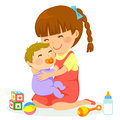 Girl with baby