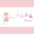 Girl baby shower with fairy tale greeting card vector
