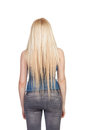 Girl back with long hair isolated on a over white background Stock Image