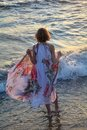 Girl from the back stands in the water on the beach, holds long dress upwards with hands Royalty Free Stock Photo