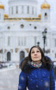 Girl on the background of cathedral of christ the savior russia Royalty Free Stock Photography