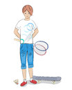 Girl with badminton racket and skateboard