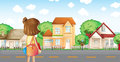 A girl with a bag across the neighborhood illustration of Royalty Free Stock Image