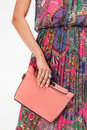 Girl with a bag in dress pink Stock Photos
