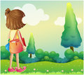 A girl with a bag at the hilltop illustration of Stock Photos