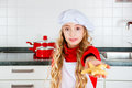 Girl baking christmas cookies in kitchen at home child domestic Royalty Free Stock Photography