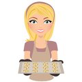 Girl baking cookies Royalty Free Stock Image