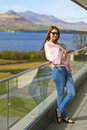 Girl on the balcone in county kerry balcony with beautiful lake view killarney ireland Royalty Free Stock Photography
