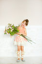 The girl the ballerina with flowers Royalty Free Stock Photo